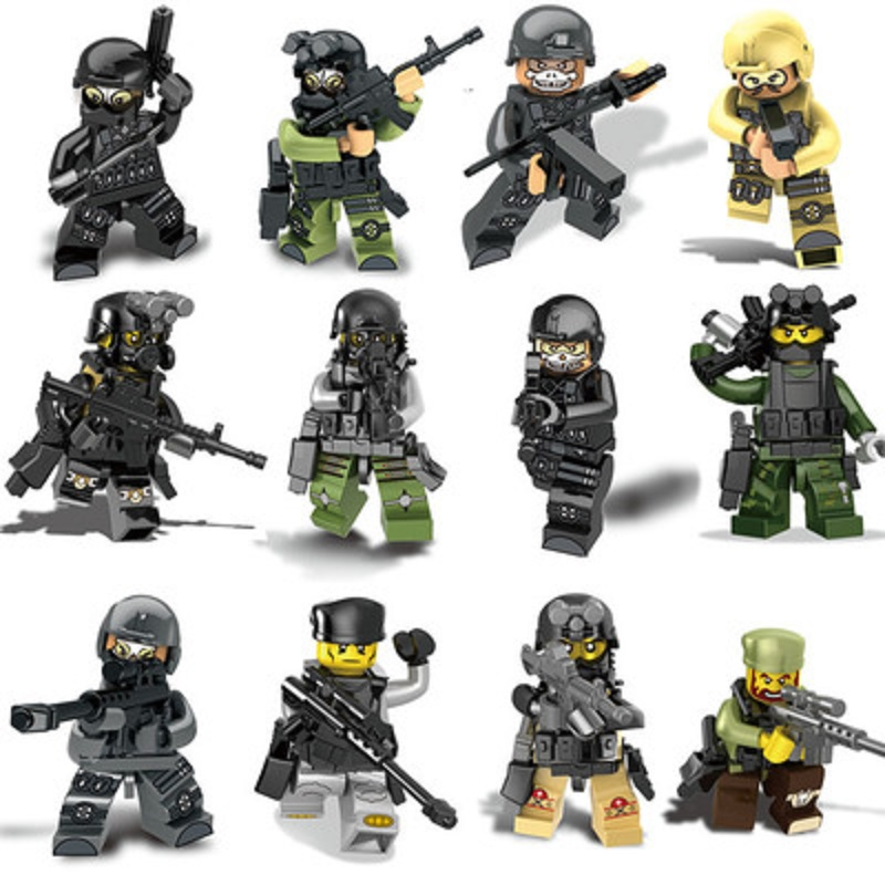 12Pcs/set Military Wapen Special Armed Forces Soliders Action Figures Gun Toys Building Blocks Compatible Legoings For child 12pcs set military wapen special armed forces soliders action figures gun toys building blocks compatible legoings for child