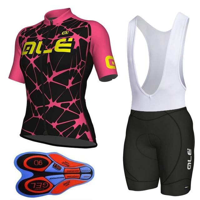 Ale 2018 Women Short Sleeve Cycling Jersey Bib Shorts Kit Breathable Ropa  Ciclismo Sportswear Bike Mtb Cycling Clothing b4bf069be