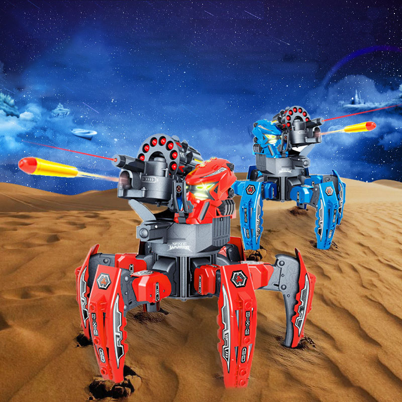 Multiplayer vs. 2.4G Remote Control Six-legged Spider Robot Cool RC Robot DIY Shooting Game Model Children Interactive Toy GiftMultiplayer vs. 2.4G Remote Control Six-legged Spider Robot Cool RC Robot DIY Shooting Game Model Children Interactive Toy Gift