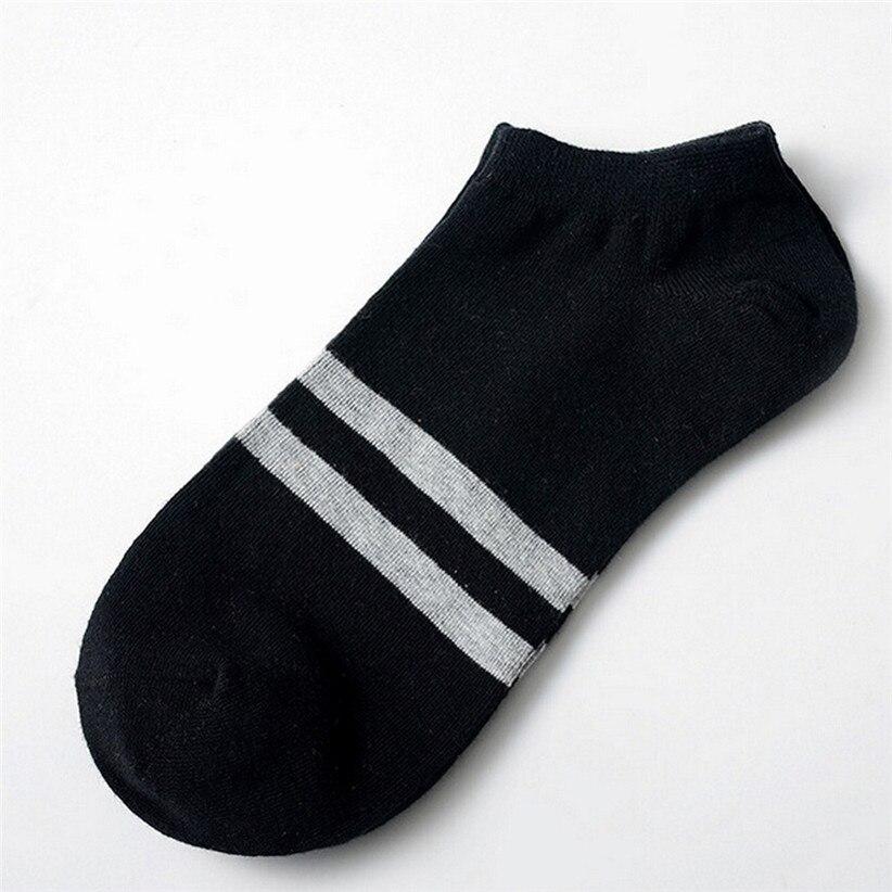 Chamsgend 1Pair Women Men Striped Socks Comfortable Short Low-Cut Cotton Socks 80131