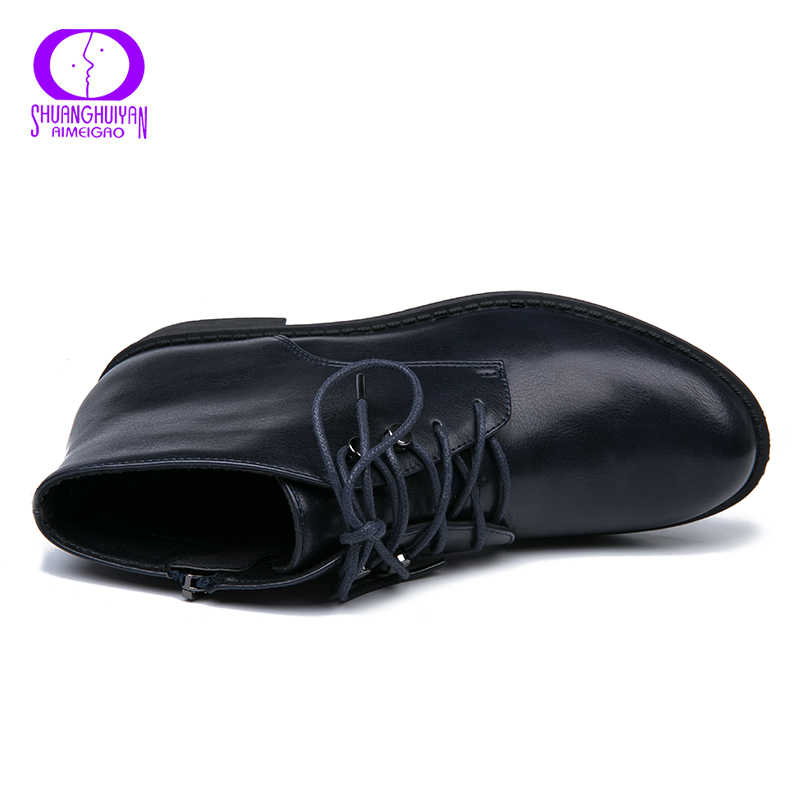 AIMEIGAO yeni fermuar yarım çizmeler kadınlar yumuşak PU deri düşük topuk kısa peluş çizmeler yan fermuar sonbahar siyah derin mavi kadın ayakkabı