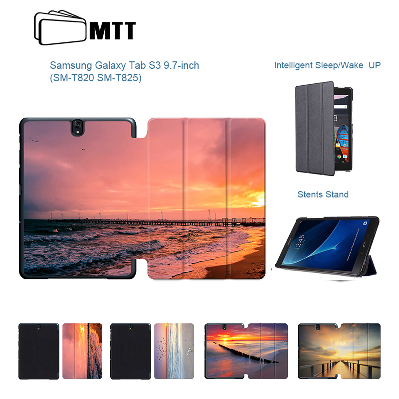 For Samsung Tab S3 9.7 SM-T820 T825 Colorful Seascape Smart Stand Cover Case For Samsung Galaxy Tab S3 9.7 Flip PU Leather Cover crocodile pattern luxury pu leather case for samsung galaxy tab 4 8 0 t330 flip stand cover for samsung tab 4 8 0 t330 sm t330