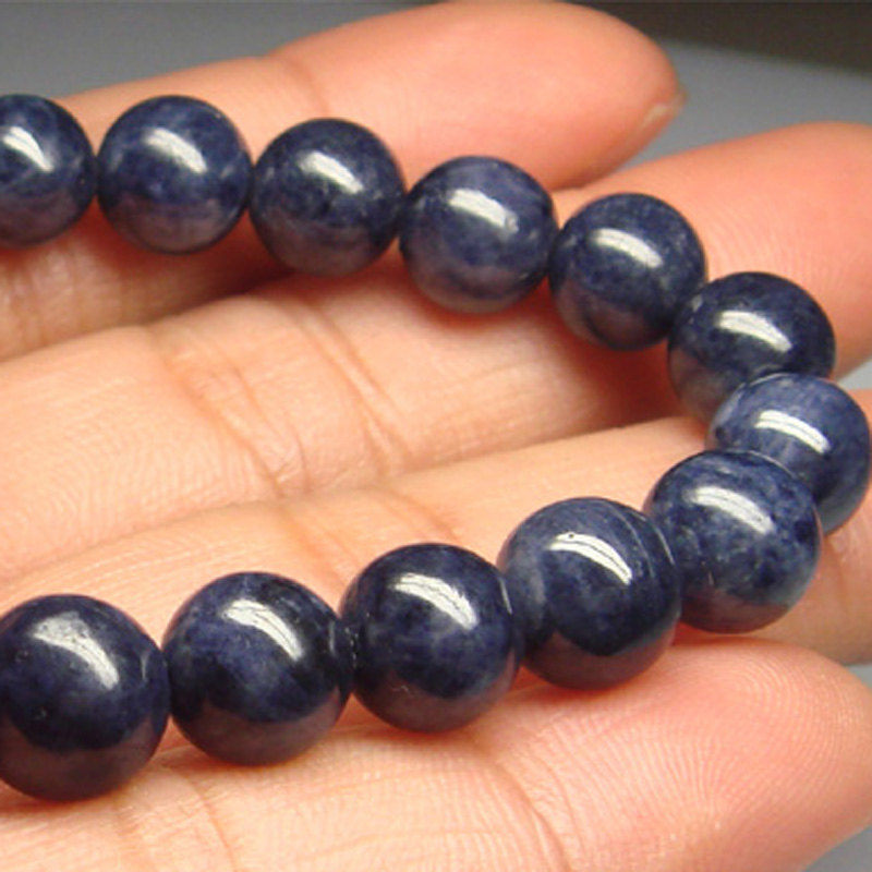 Wholesale Natural Genuine Blue Sapphire Bracelet Stretch Bracelet Round Fit Jewelry beads 8mm 01540 недорого
