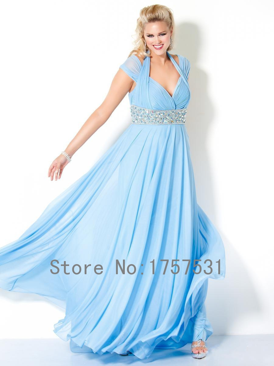 2015 New Arrival Light Blue Hater Long Plus Size Bridesmaid Dresses