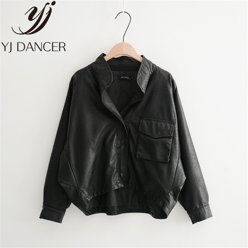 leather   jacket 2019 Spring New Fashion Motorcycle   Leather   PU Bat Sleeve Women   Leather   Harajuku Loose OVERSIZE Casual BF L0328