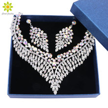 Fashion Necklace Earring Sets Women Bridal Jewelry Sets Rhinestone Party Wedding Costume Accessories Decoration with Gift Boxes