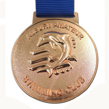 Customized 3D medals hot sales custom Gold Award Medal cheap made metal with blue ribbons