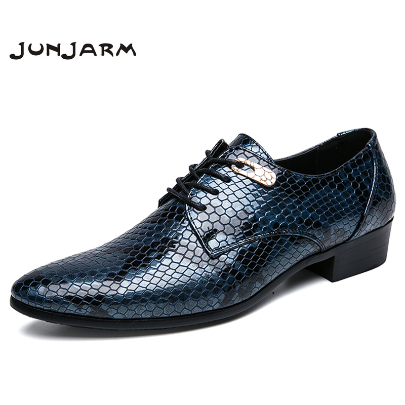 JUNJARM 2018 Brand New Men's Dress Shoes Size 38-47 Black Classic Point Toe Oxfords For Men Fashion Mens Business Party Shoes