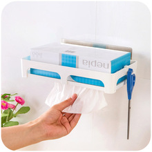 Seamless stick removable kitchen towel rack, tissue boxes drawn the bottom, out of paper storage rack