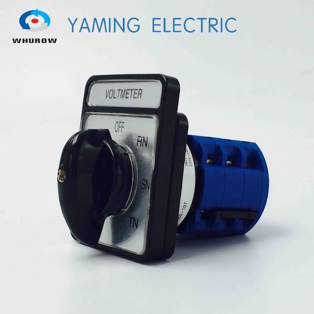 Venda fábrica comutador 20A 7 Posição Selector Voltímetro 3 fases do circuito de controle do rotary switch cam