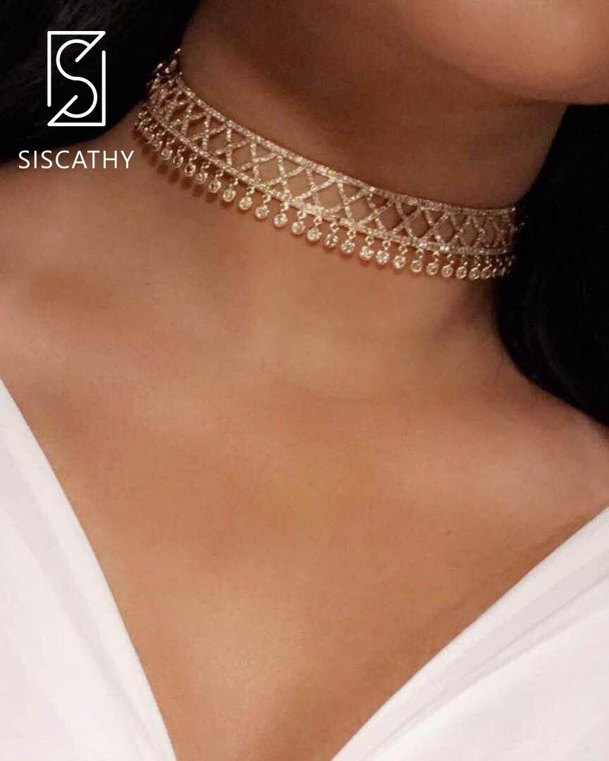 Takı ve Aksesuarları'ten Zincir Kolyeler'de SISCATHY Lüks Altın Bildirimi kolye Geometrik Şekil Moda Düğün Nişan Kolye Kadın Chokers Parti Takı'da  Grup 1