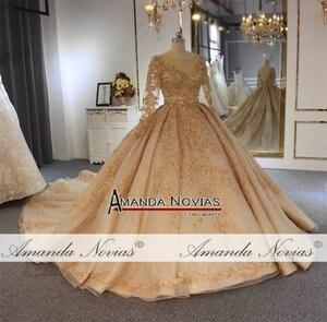 Image 4 - 2020 goldenen voll perlen hochzeit kleid funkelnden luxus lange zug brautkleid ohne schleier