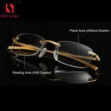 Bifocal Reading Glasses Men Women Rimless Aluminum-magnesium Dioptric Frame Presbyopic +1.0+1.5+2.0+2.5+3.0+3.5+4.0