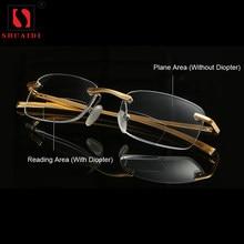 ea708dd49 ثنائية البؤرة نظارات للقراءة الرجال النساء بدون شفة الألومنيوم والمغنيسيوم  انكساري إطار النظارات طويل النظر + 1.0 + 1.5 + 2.0 + .