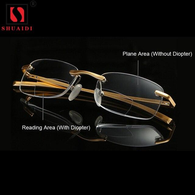 5bba8049e1 Gafas de lectura bifocales hombres mujeres sin montura de aluminio y  magnesio marco diópico gafas presbiópicas + 1,0 + 1,5 + 2,0 + 2,5 + 3,0 +  3,5 + 4,0