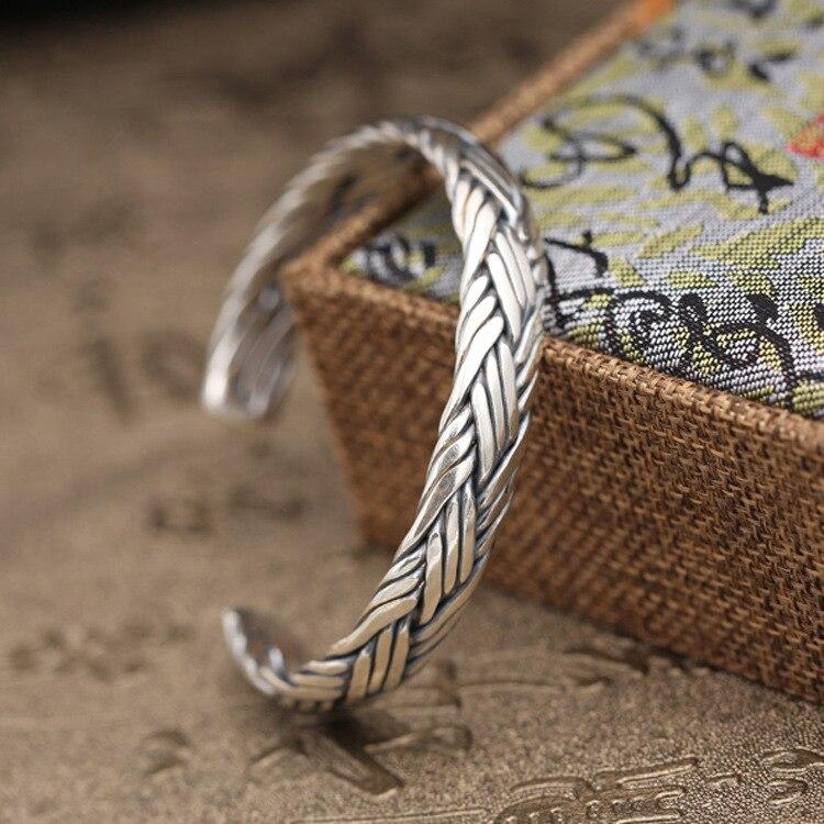 39 г чистого твердого серебра 925 плетеная ткань манжеты браслет Для мужчин Для женщин Простой Краткая Стиль Мода Для мужчин S 925 ювелирные под...