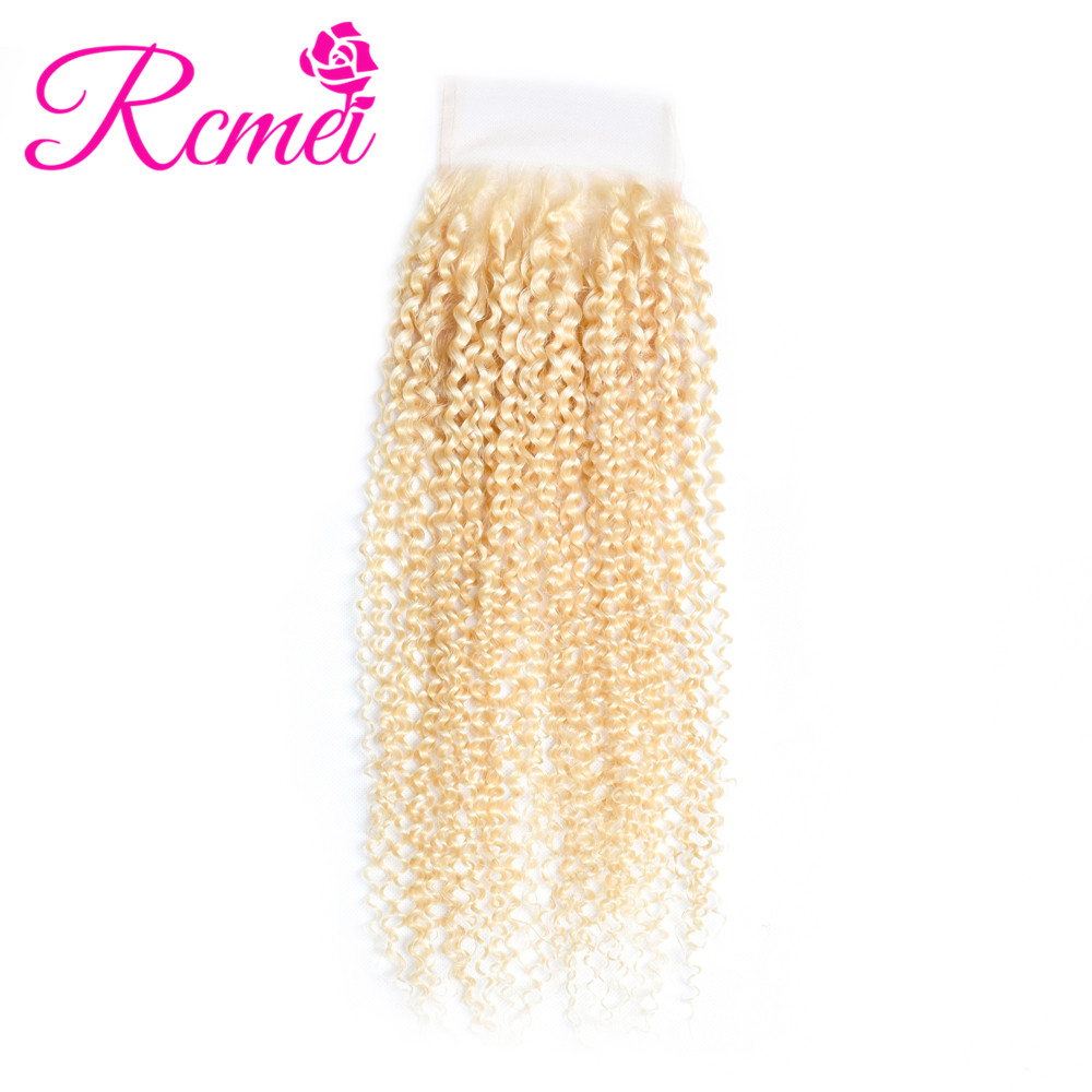 Hair Extensions & Wigs Rapture Rcmei 613 Color Blonde Kinky Curly Lace Closure 4*4 Inch With Baby Hair Brazilian Curly Remy Human Hair Top Clousre Freeshipping
