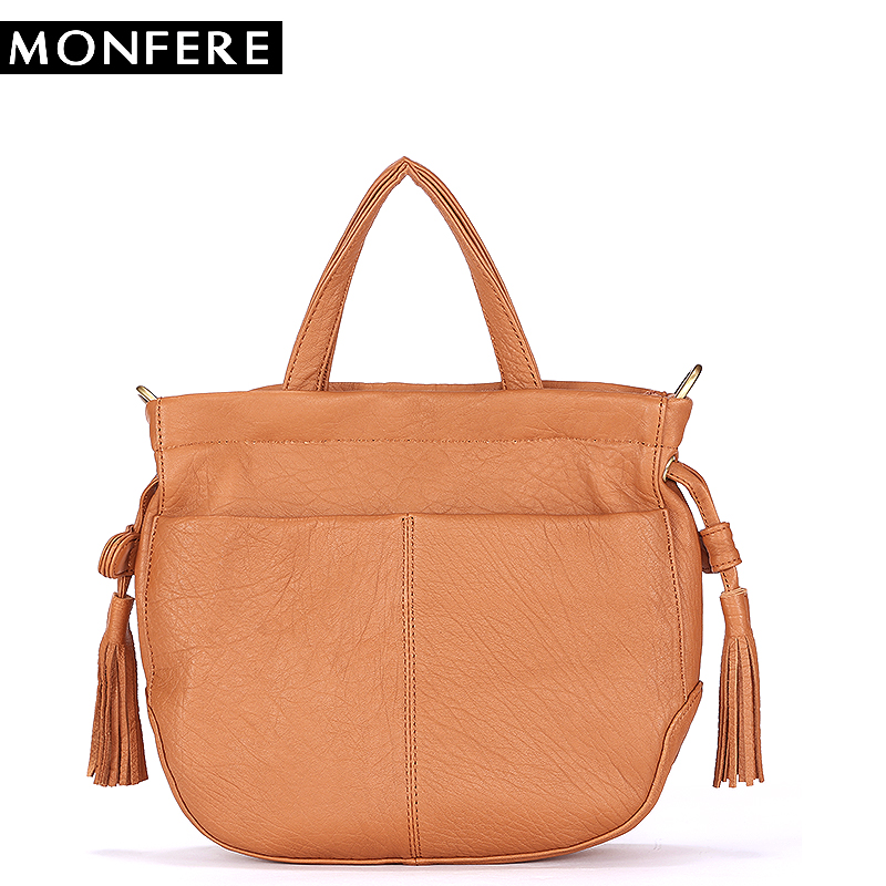 MONFER Brand Fashion Female Shoulder Bag Cow Leather women handbag Vintage Messenger Bag Flat Tassel Top-handle Cross body Bags women tote vintage female cow leather handbag designer brands shoulder crossbody bag embroidered messenger cross body bags purse