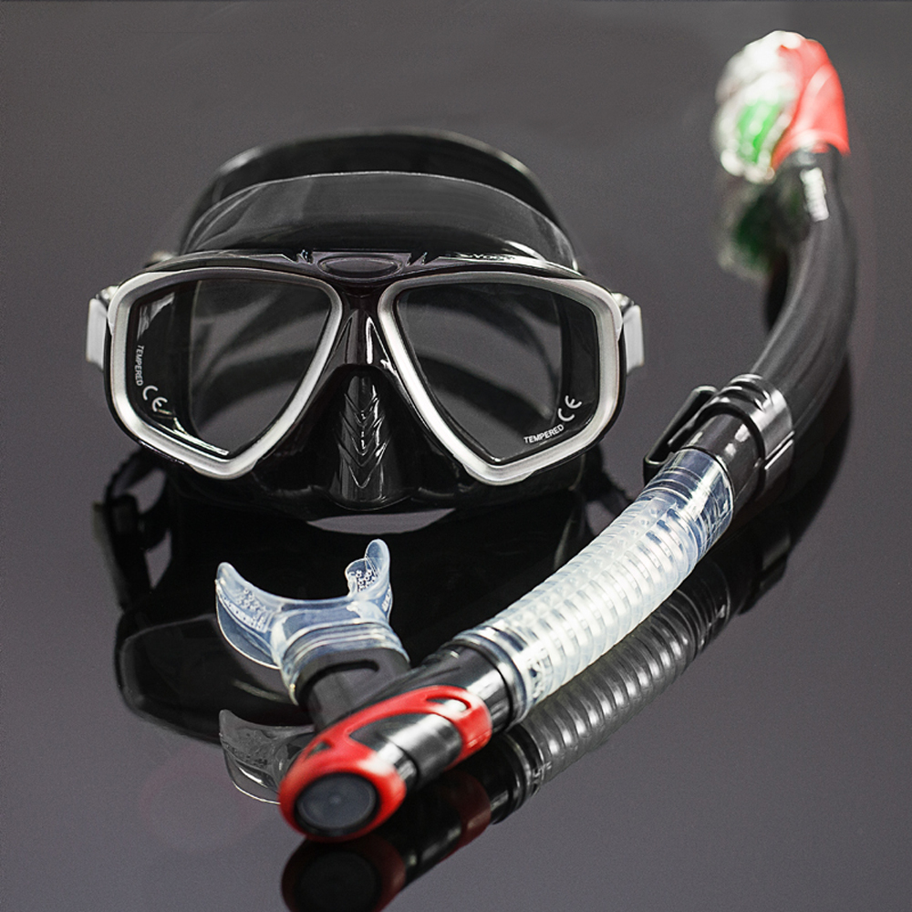 Twin lens tempered glass diving mask and snorkel set Optical scuba diving snorkel set Top adult dive equipment and snorkel gears gull super bullet snorkel for diving scuba