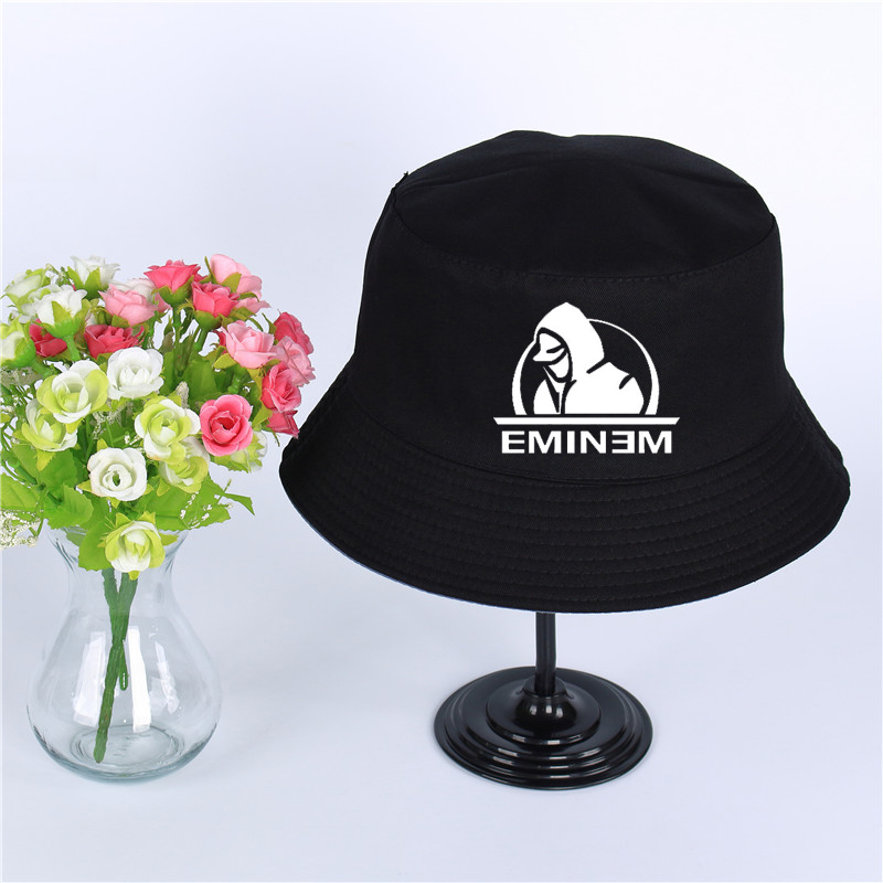 Eminem Logo Summer Hat Women Mens Panama Bucket Hat Eminem Design Flat Sun Visor Fishing Fisherman Hat Fashionable(In) Style;