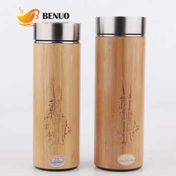 360 / 450ml Natural Bamboo Thermal Insulation Water Bottle with Stainless Steel or Ceramics or Clay Inner Tank Infusers Flasks - SALE ITEM Home & Garden
