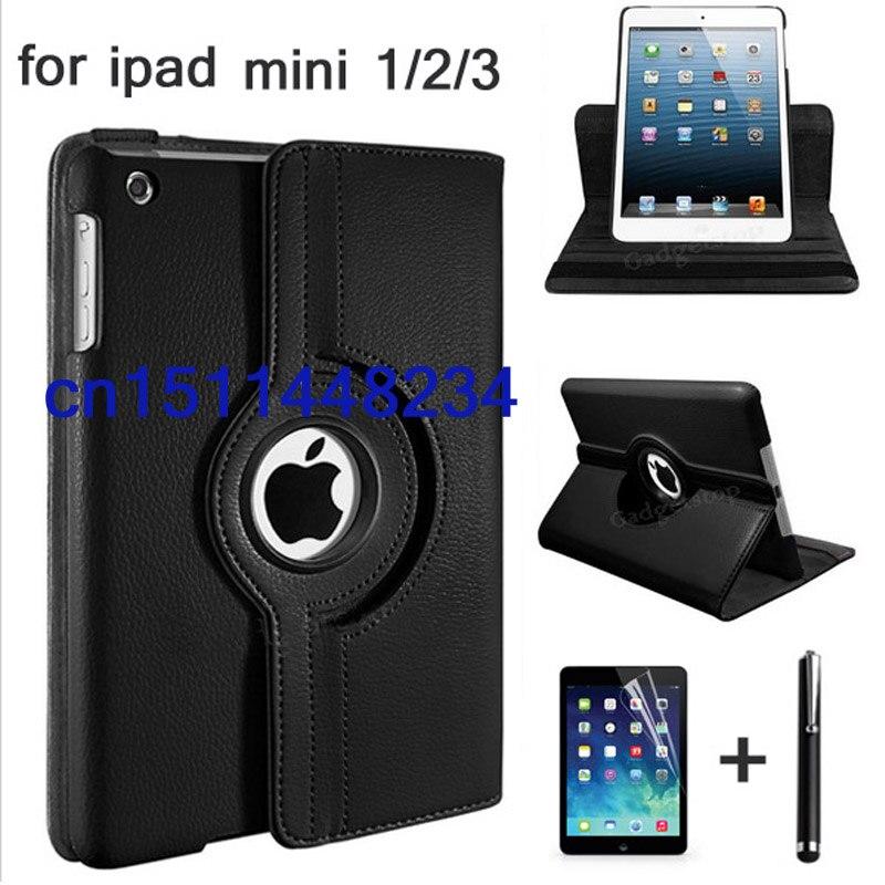 360 Rotation PU étui En Cuir pour Apple ipad mini1/2/3 Smart case flip cas stand cas pour iPad Mini Retina Fundas + film + stylo
