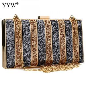 Image 1 - Luxury Women Bags Designer Evening Party Bag For Female Gold Mini Sequins Clutch Bag LadyS Handbag Purse Chain Crossbody Bag