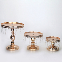 Cake Stand Metal Iron Crystal Pendant Cupcake Stand Wedding Party Decoration Supplier Baking Pastry Cake Dessert
