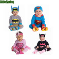Free Shipping Baby Clothing Baby Boy Rompers Baby Boy Clothes Cute Superman Costume Long Sleeve Cotton Batman Cartoon Clothes