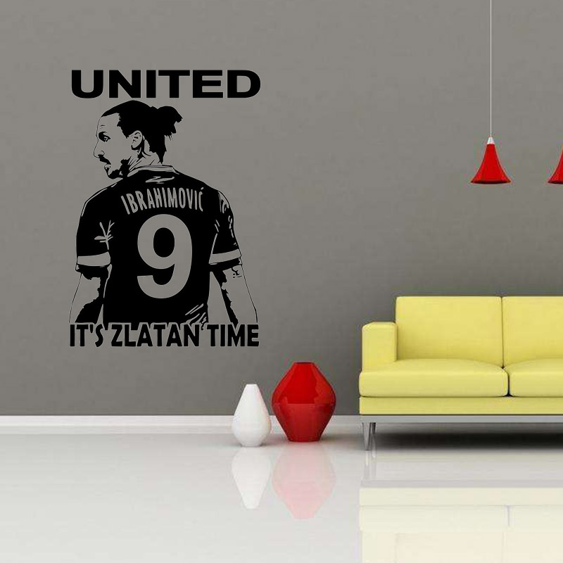 Zlatan Ibrahimovic Football Star Wall Art 3d Poster Soccer Wall Stickers  For Kids Room Boy Bedroom Wallpaper Mural In Wall Stickers From Home U0026  Garden On ...