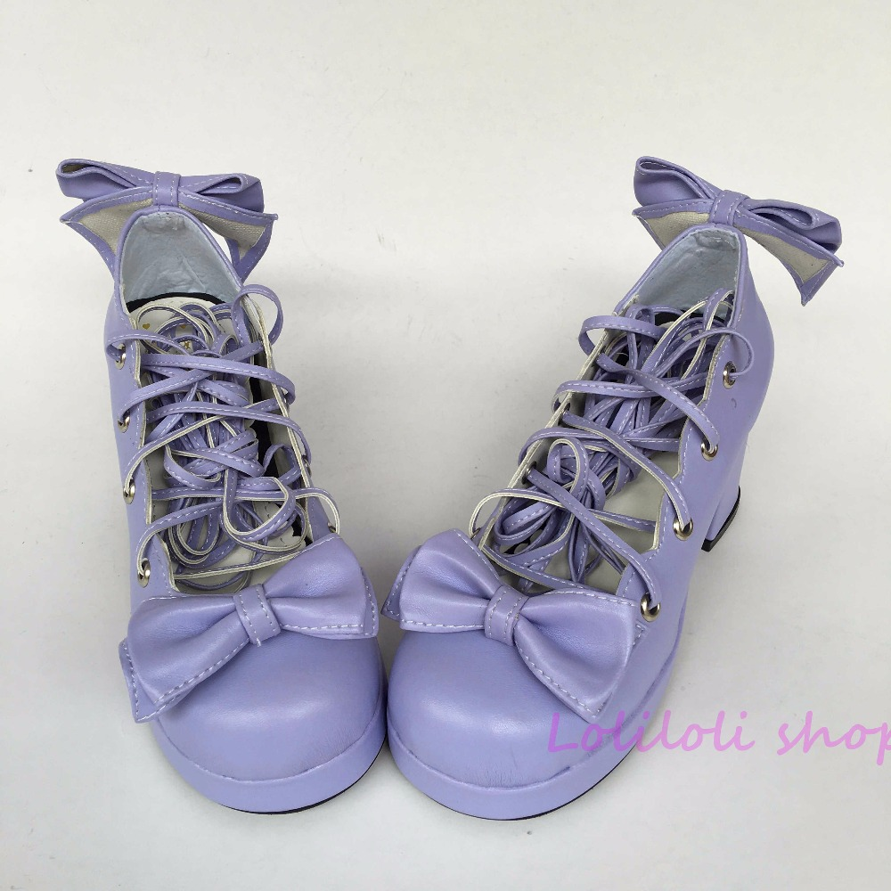 Princess sweet lolita shoes lolita style Japanese design customized shoes purple bow special shaped buckle square root 1f193 цена