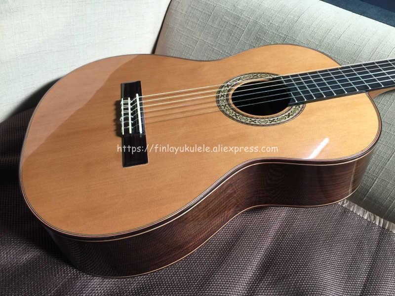 Finlay 39 بوصة كاملة الصلبة الصوتية الغيتار الكلاسيكي مع قمة الأرز/الصلبة روزوود الجسم غطاء واقٍ مزخرف لهاتف آيفون ، المهنية اليدوية الغيتار