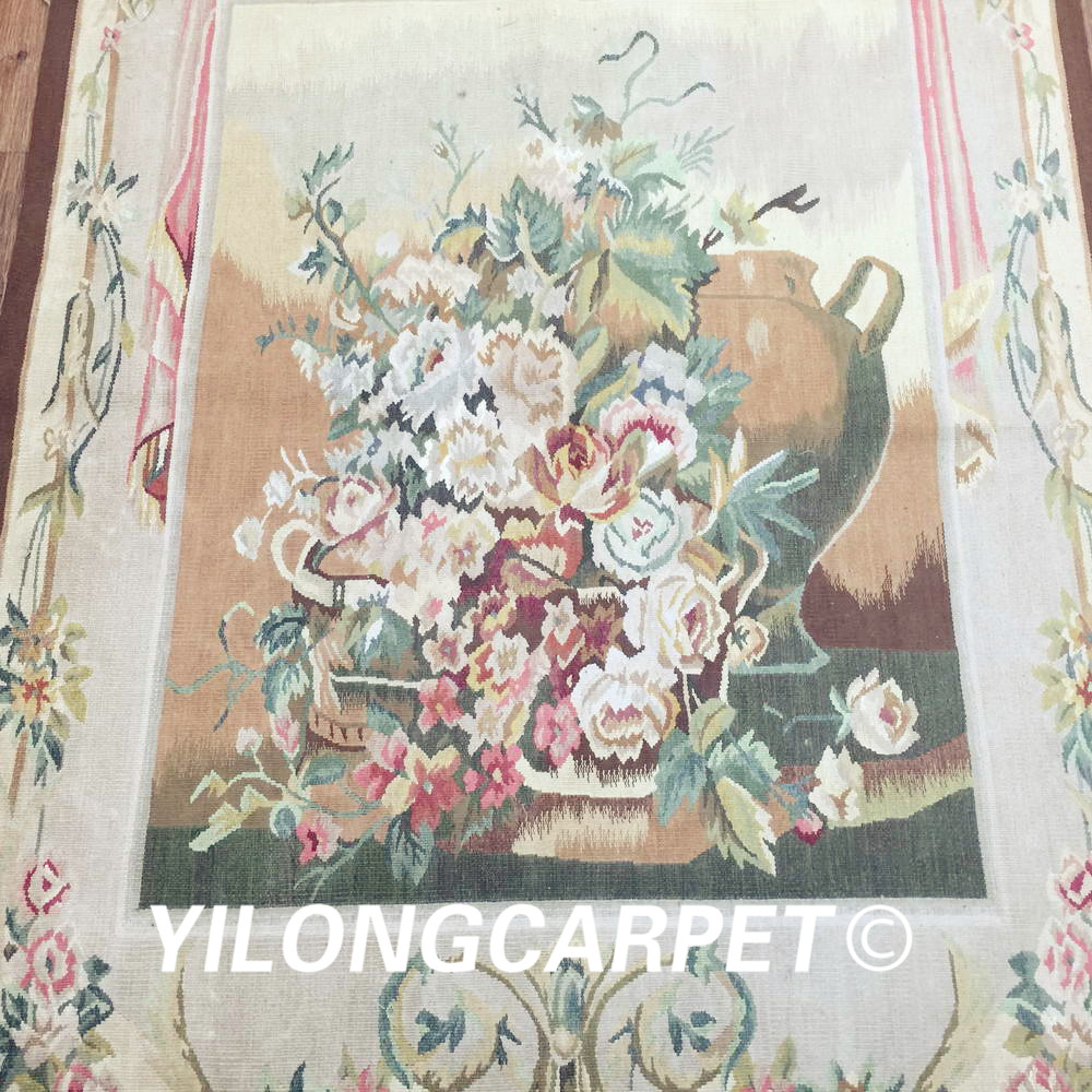 Yilong 3.1'x4.2' customized flat weave handmade french wool aubusson style wall tapestry (Au38 3.1x4.2) - 4