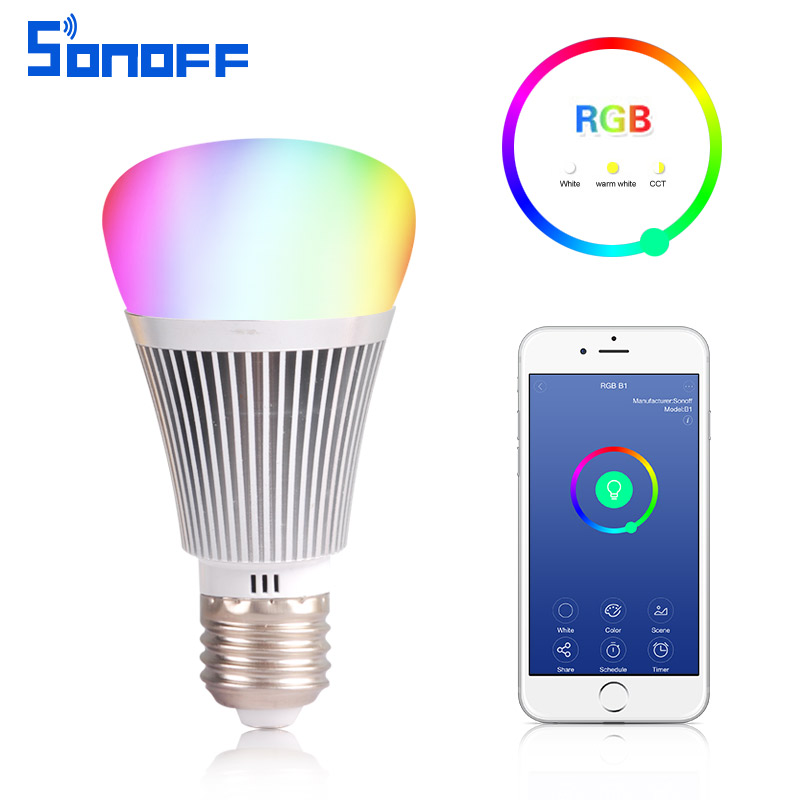 sonoff b1 led dimmer wifi smart light bulbs remote control light switch color changing rgb bulb. Black Bedroom Furniture Sets. Home Design Ideas