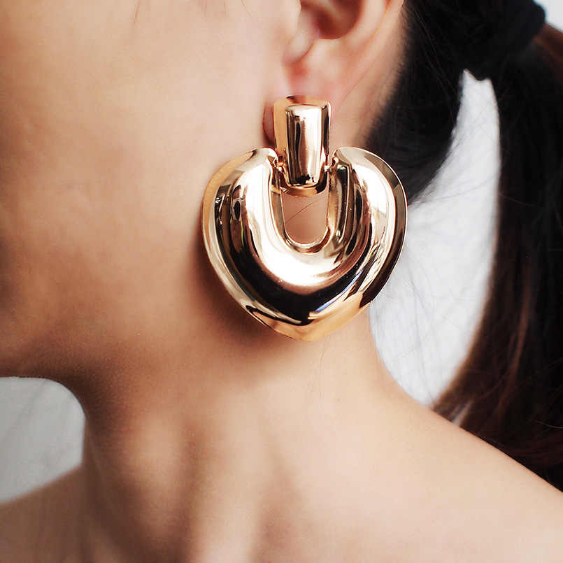 EK2209 Fashion Jewelry Vintage Big Heart Pendant Drop Earrings for Women Statement Earring Gold Color Smooth Metal Earing