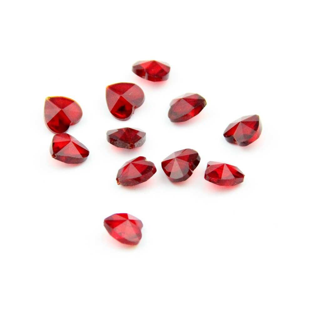 50 шт./партия красные стеклянные бусины сердце Середина 1 отверстие 14 мм для хрустальной люстры кулон Diy ювелирных изделий