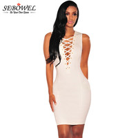 White Lace Up V Neck Sleeveless Bodycon Dress
