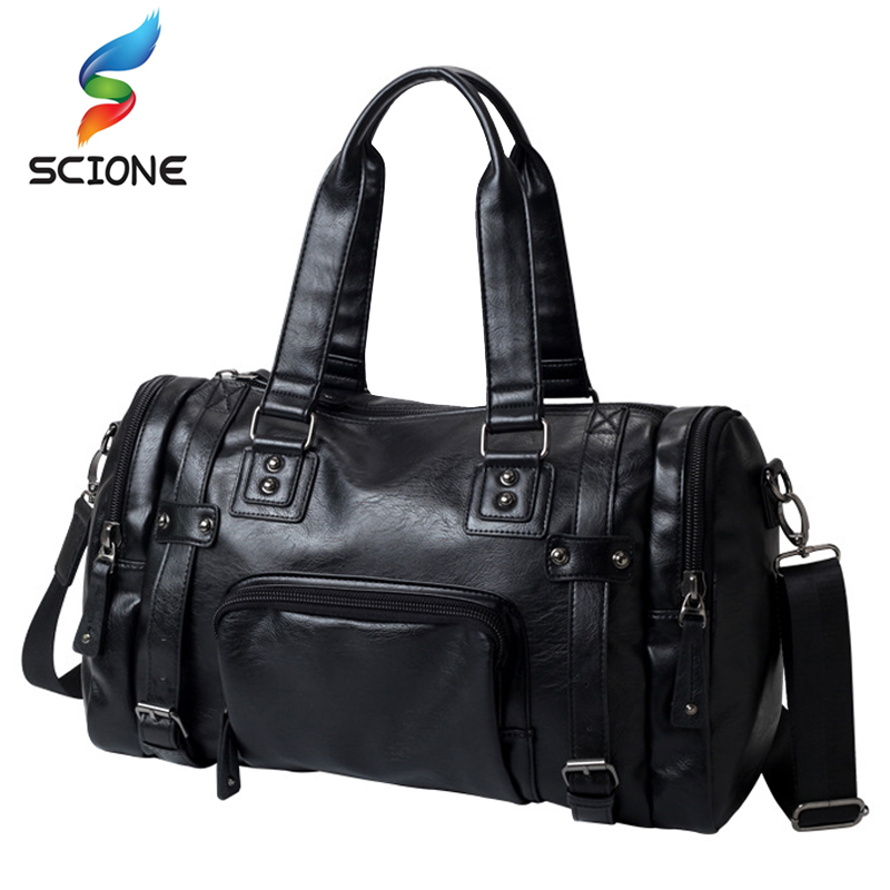 Hot Outdoor Waterproof Travel Handbag Sports Gym Bags Cow PU Leather Messenger Bags Men Travel Crossbody Shoulder Bag