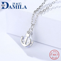 Fashion S925 sterling silver cz anchor pendant necklace for women Crystal pendants necklace jewelry anniversary Engagment gift