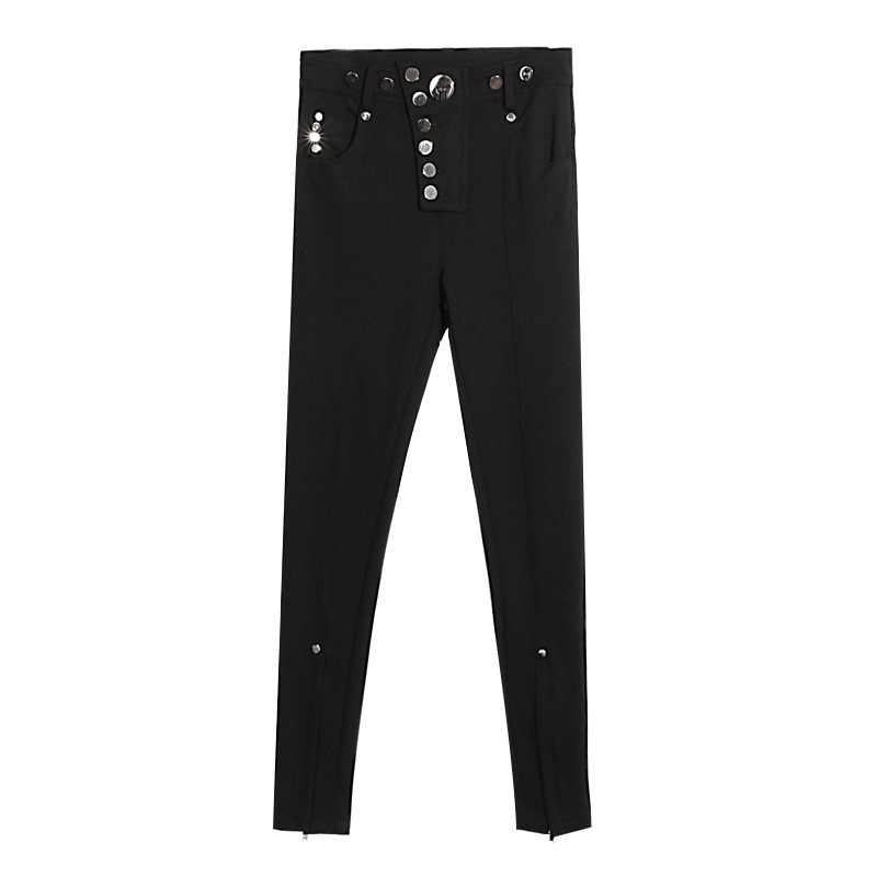 TWOTWINSTYLE Zipper Hem Denim Pencil Pants Women Legging Button High Wiast Jeans Skinny Ankle Length Trousers Basic Clothes Tide