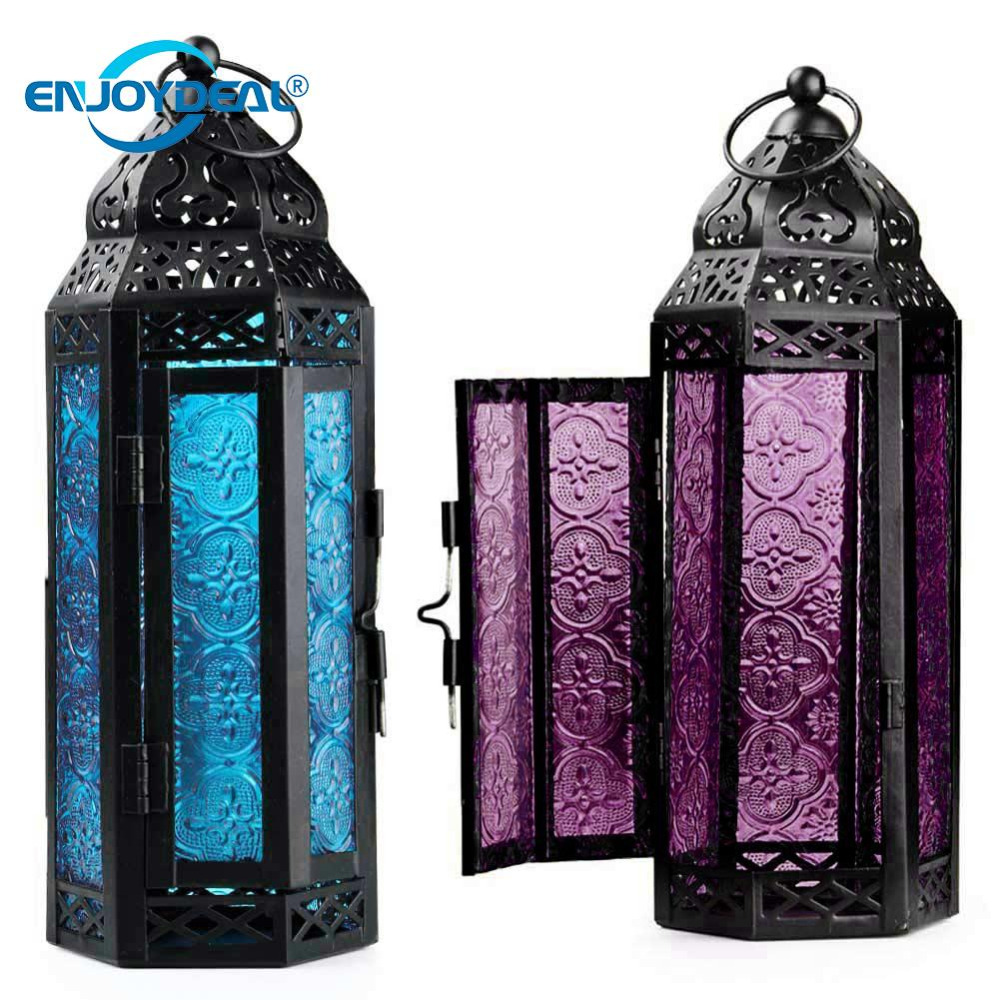 Exotic Delight Moroccan Glass Metal Lantern Garden Candle Holder Table/Hanging Lantern For Parties And Weddings Bed Room Light