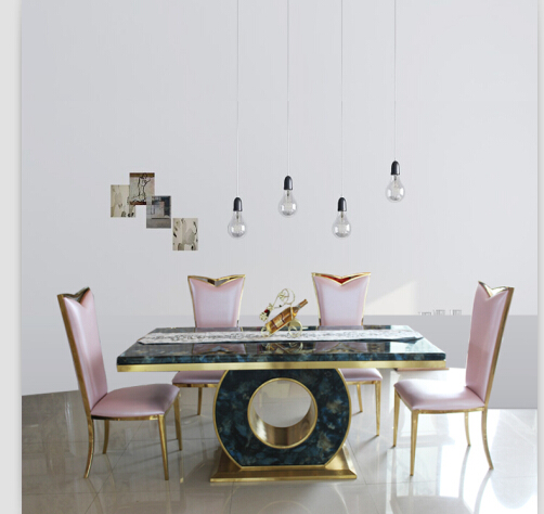 Dining Table Set With Good Quality Marble Black Rose Gold Color 4 Chairs
