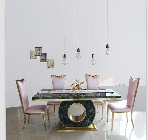Eettafel Set Met 4 Stoelen.Us 980 0 Eettafel Set Met Goede Kwaliteit Marmeren Eettafel Zwart Rose Goud Kleur 4 Stoelen In Eettafels Van Meubilair Op Aliexpress Com Alibaba