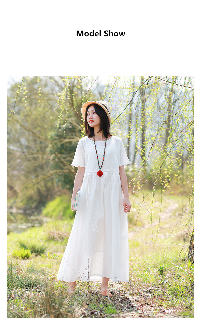 LZJN Women Summer Pullover V Neck and O Neck Loose Drawstring Waist Cotton Linen Long Dress Basic Daily Style White Cool Dress (15)