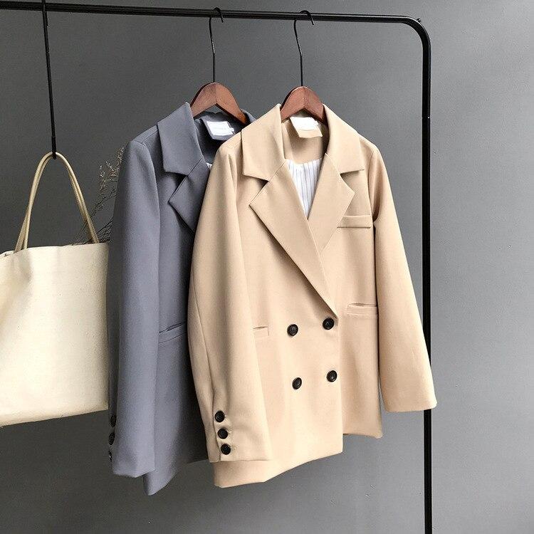 Mooirue hiver femme Blazer veste manteau Double boutonnage coton Chic Long costume femme kaki bleu décontracté Cardigan