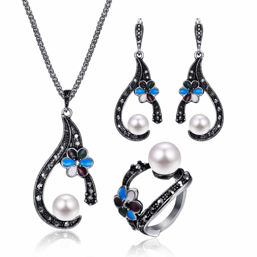 Fashion Vintage Water Drop Jewelry Sets For Women Antique Enamel Pearl Crystal Flower Exquisite Necklace EarringJewelry Sets 20%