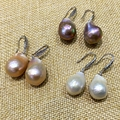 baroque Irregular style pearl hook earrings flameball plus size tissue nucleated natural freshwater pearls 925 silver Special