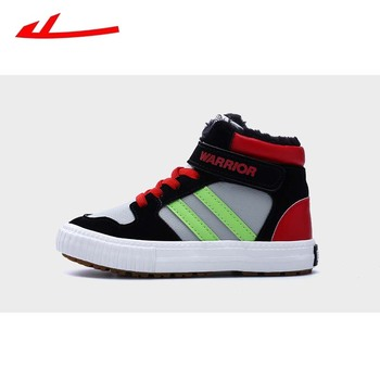HUILI winter original kids shoes for boys & girls leather material plush lining warm comfortable light ugged children's sneaker