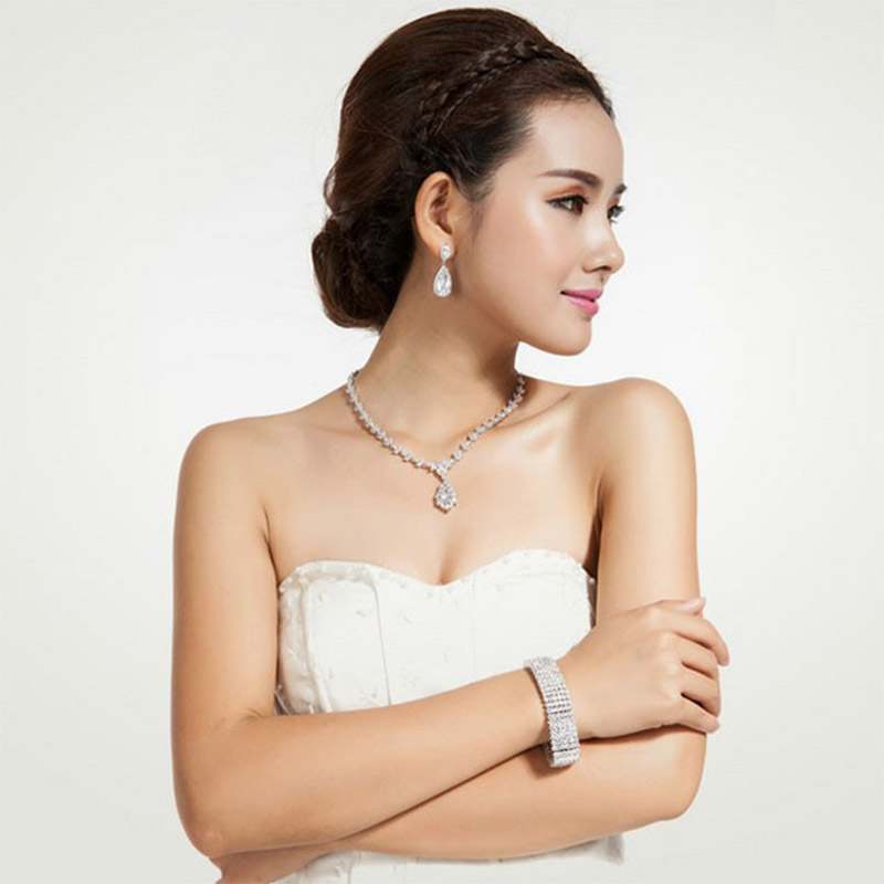 LUOTEEMI Elegant Teardrop Shape White CZ Stone Fashion Waterdrop - Նորաձև զարդեր - Լուսանկար 3