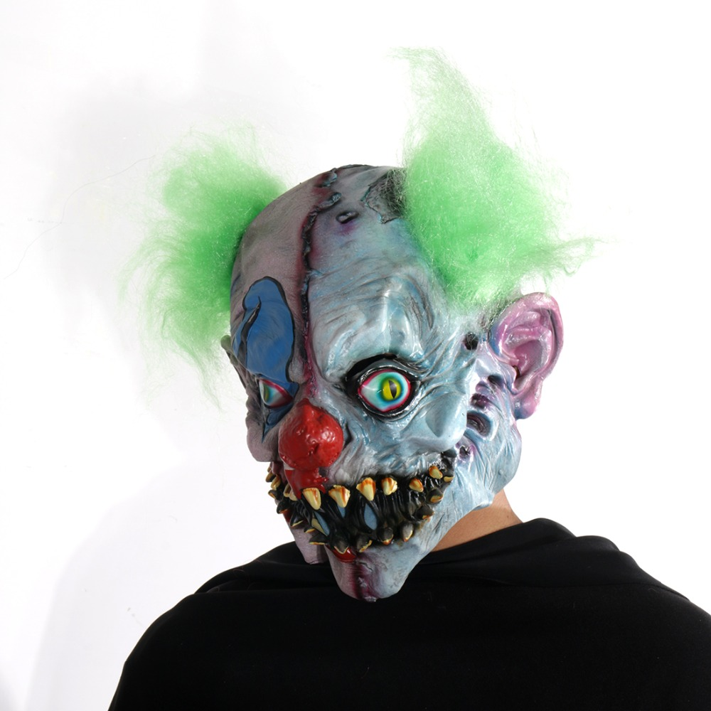 Scary Clown Latex Mask Green Hair Buck teeth Full Face Horror Masquerade Adult Ghost Party Mask Halloween Props Fancy Costumes 1